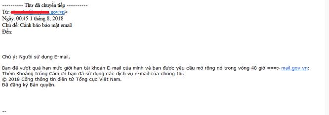 Cảnh báo: Lừa đảo đánh cắp thư điện tử mạo danh tổ chức nhà nước ảnh 1
