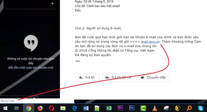 Cảnh báo: Lừa đảo đánh cắp thư điện tử mạo danh tổ chức nhà nước ảnh 3