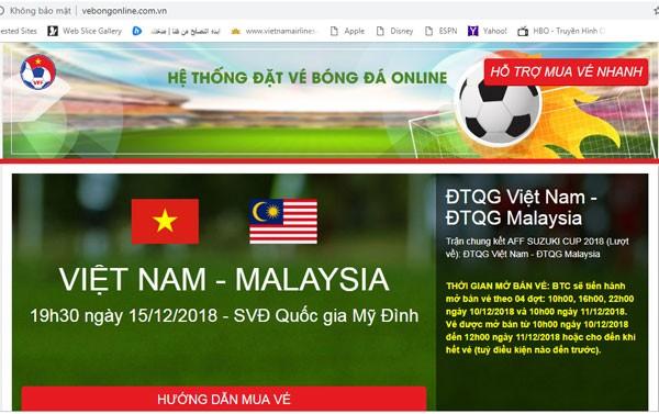 """Website bán vé trận Việt Nam vs Malaysia liên tục """"ngất"""", VFF lên tiếng cảnh báo vé giả ảnh 2"""