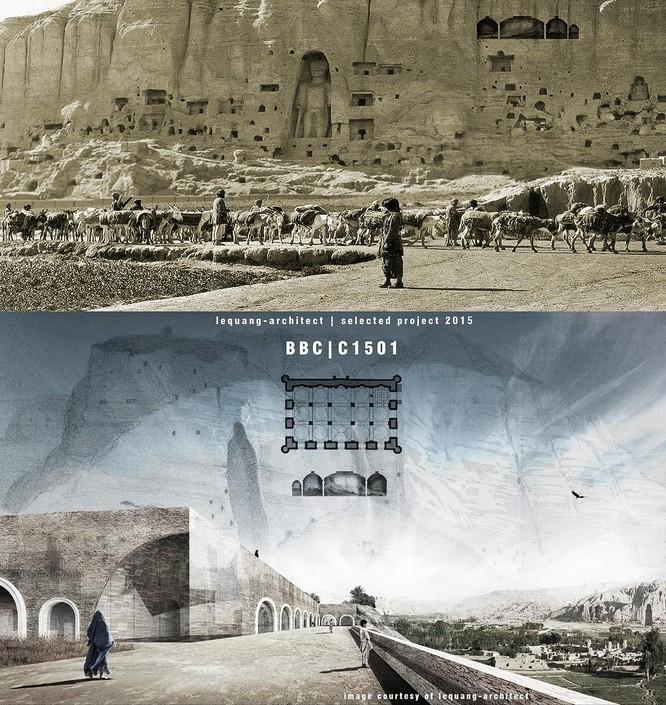 Ảnh đồ án nghiên cứu của người viết đã được nêu trong bài. Phương án kiến trúc cho trung tâm Văn hóa Bamiyan tại Afghanistan, hình ảnh được trích ra từ một ấn phẩm triển lãm tại UNESCO. Ảnh: lequang-architect.