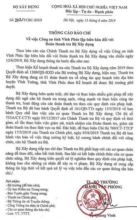 Bộ Xây dựng nói gì về việc đoàn thanh tra bị lập biên bản vì vòi tiền ở Vĩnh Phúc? ảnh 1