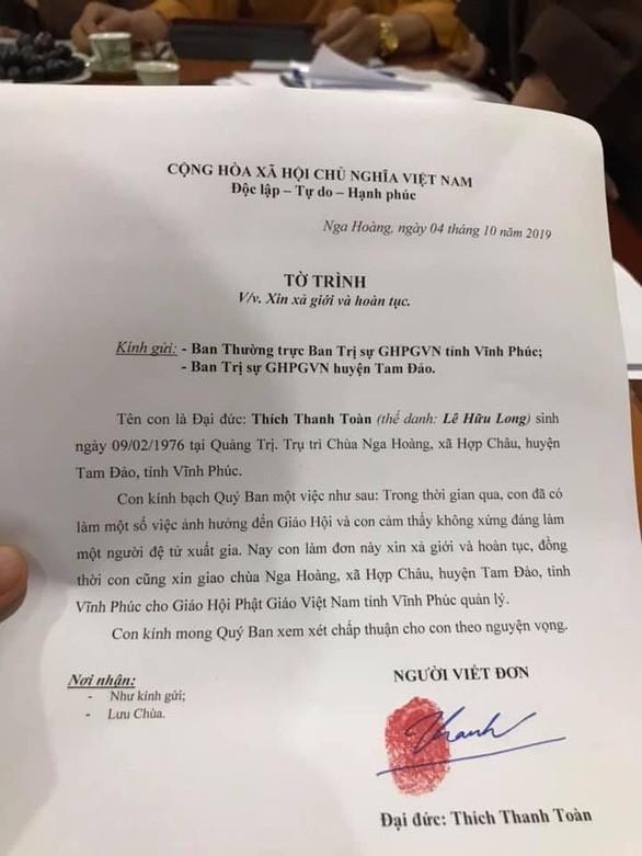 Tờ trình xin xả giới hoàn tục của Đại đức Thích Thanh Toàn. Ảnh: Giáo hội Phật giáo VN tỉnh Vĩnh Phúc