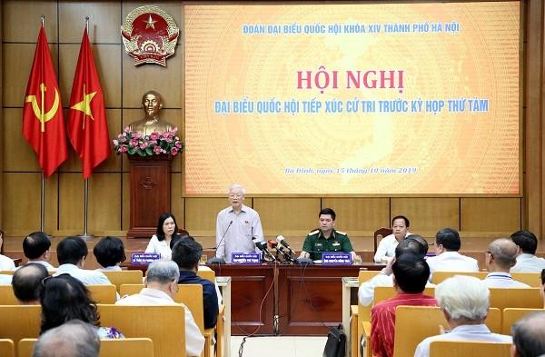 Tổng Bí thư, Chủ tịch nước Nguyễn Phú Trọng phát biểu tại buổi tiếp xúc cử tri.