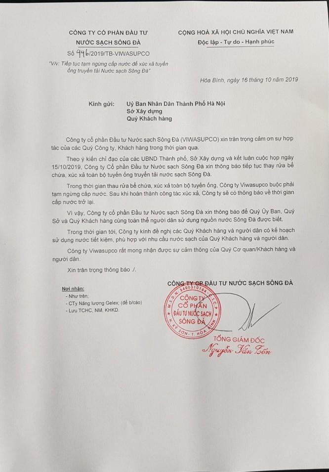 Công ty Nước sạch Sông Đà tuyên bố ngừng cấp nước, không hẹn ngày trở lại ảnh 1