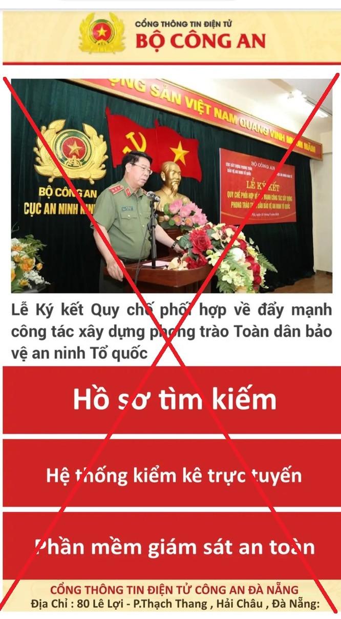 Công an TP. Đà Nẵng cảnh báo website giả danh Bộ Công an chứa mã độc đánh cắp thông tin ảnh 1