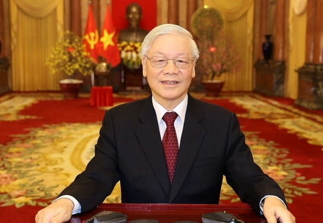 Tổng Bí thư, Chủ tịch nước Nguyễn Phú Trọng đọc Thư chúc Tết. Ảnh: TTXVN