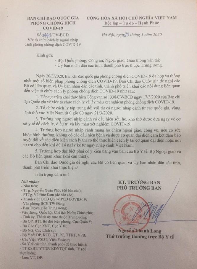 Cách ly 14 ngày đối với tất cả người nhập cảnh vào Việt Nam từ 0h đêm nay ảnh 1