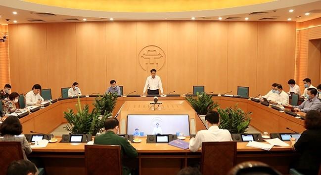 Chủ tịch UBND TP. Hà Nội chủ trì cuộc họp của Ban Chỉ đạo phòng chống dịch bệnh Covid-19 của thành phố.