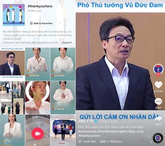Cùng chiến dịch #thankyouhero, Phó Thủ Tướng Vũ Đức Đam đã gửi lời cảm ơn tới toàn thể nhân dân, các cơ quan chức năng và đặc biệt là của đội ngũ bác sĩ, y tế thông qua đoạn video của Bộ Y tế đăng tải trên TikTok