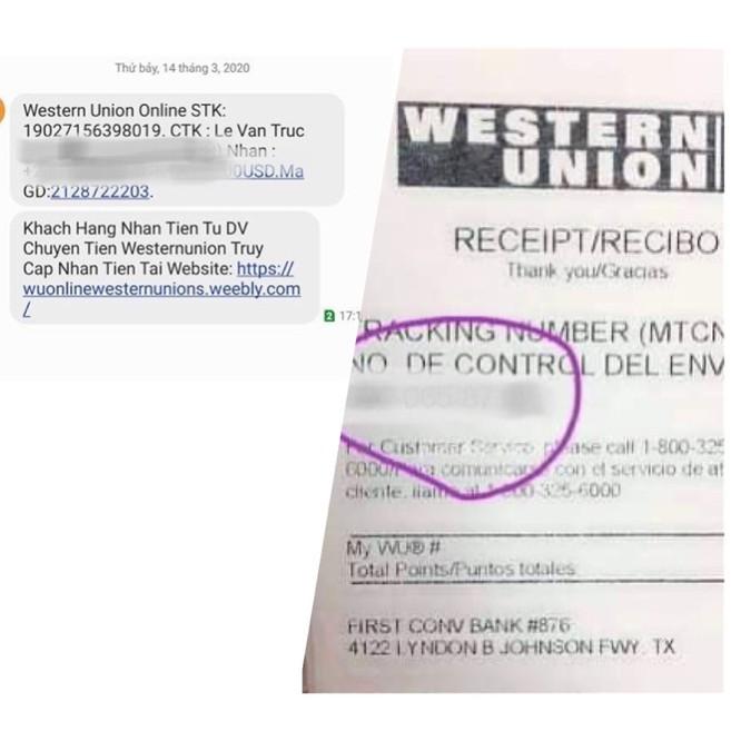 Các đối tượng lừa đảo giả lập một hóa đơn, chứng từ tiếp nhận tiền của dịch vụ chuyển tiền quốc tế Western Union rồi gửi tin nhắn hình ảnh cho bị hại.