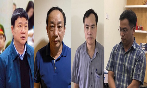 Bốn bị can (từ trái qua): Đinh La Thăng, Nguyễn Hồng Trường, Nguyễn Chí Thành, Lê Trung Cường