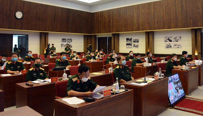 Các đại biểu dự hội nghị tại điểm cầu Bộ Quốc phòng. Ảnh: Bộ Quốc phòng.