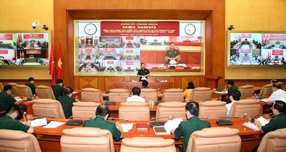 Quang cảnh hội nghị tại điểm cầu Sở chỉ huy Bộ Quốc phòng. Ảnh: QĐND