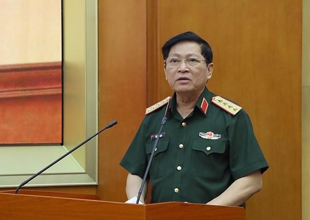 Đại tướng Ngô Xuân Lịch phát biểu tại hội nghị.