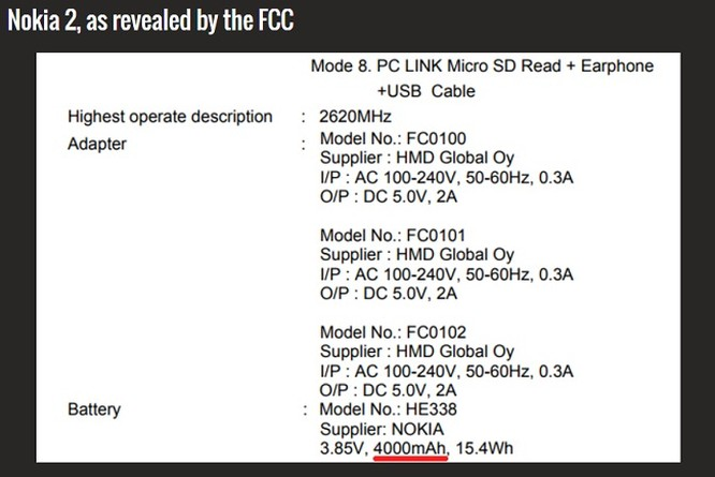 """Nokia 2 sẽ có pin """"khủng"""" 4000 mAh ảnh 1"""