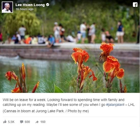 Bức ảnh cùng dòng chữ thông báo ông Lý Hiển Long đăng tải trên Facebook cá nhân (Ảnh: StraitTimes)