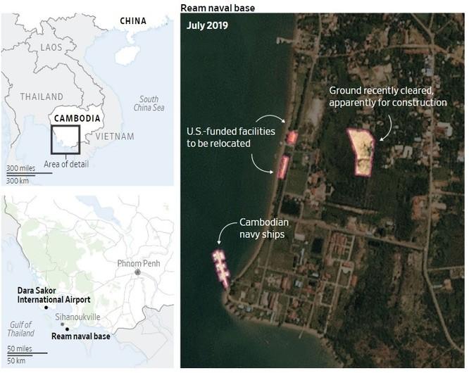 Ảnh chụp vệ tinh cho thấy các hoạt động chuẩn bị đang diễn ra tại căn cứ Ream (Ảnh: WSJ)