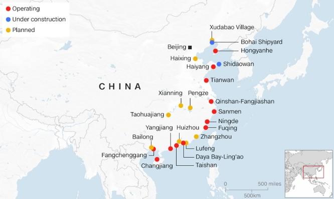 Các nhà máy điện hạt nhân đang vận hành (đỏ), đang được xây dựng (xanh) và đã lên kế hoạch xây dựng ở Trung Quốc (Ảnh: CNN)