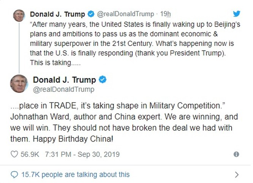 """Thông điệp """"chúc mừng sinh nhật"""" mà ông Trump đăng tải trên Twitter (Ảnh: SCMP)"""