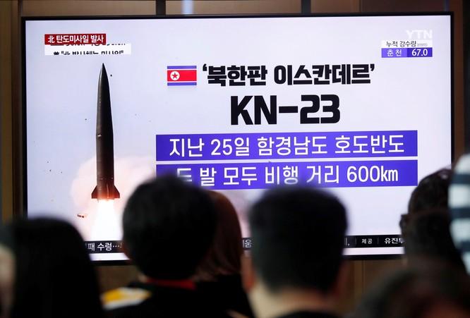 Tên lửa KN-23 của Triều Tiên được phóng thử nghiệm vào tháng 7/2019 (Ảnh: Reuters)
