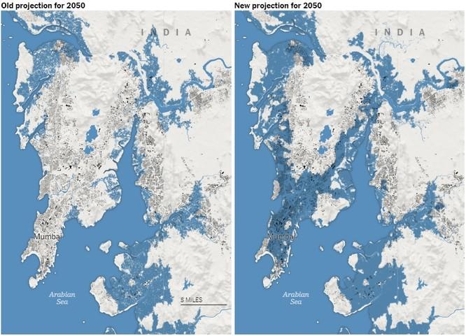 Thành phố Mumbai của Ấn Độ cũng không tránh khỏi rủi ro bị nước biển xâm lấn (Ảnh: NYTimes)