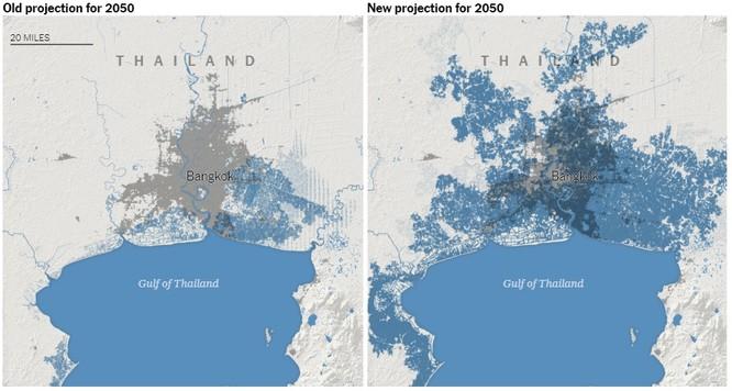 Thủ đô Bangkok của Thái Lan đối mặt với khả năng bị xóa sổ (Ảnh: NYTimes)