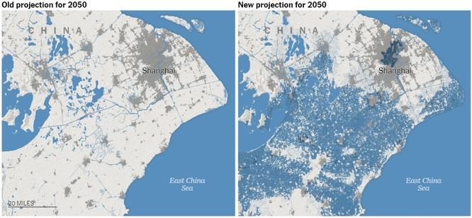 Ảnh hưởng của nước biển dâng với thành phố Thượng Hải, Trung Quốc (Ảnh: NYTimes)