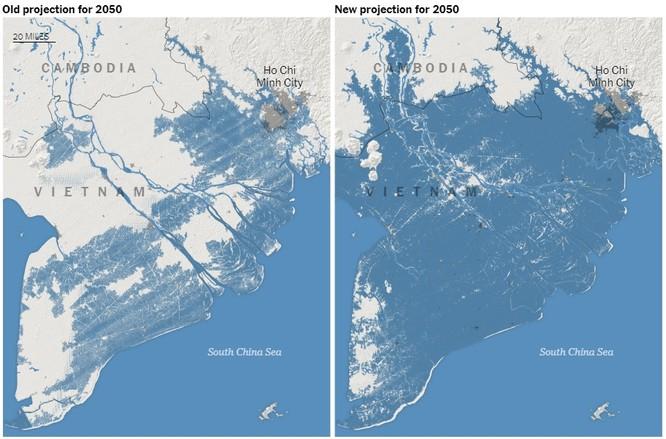 Bức ảnh so sánh tầm ảnh hưởng của nước biển dâng ở miền Nam Việt Nam trong nghiên cứu cũ và nghiên cứu mới (Ảnh: NYTimes)