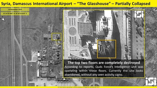 Trụ sở của lực lượng Qud ở Damascus bị phá hủy sau đòn không kích cảu Israel (Ảnh: ImageSat)