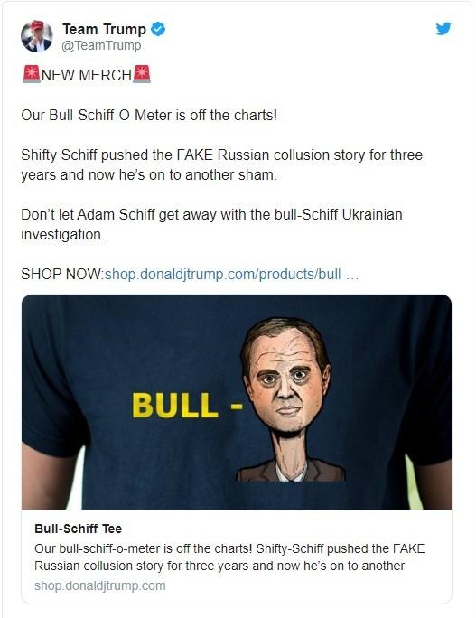 Đoạn tweet tiếp thị mẫu áo phông mà chiến dịch tranh cử của ông Trump đưa ra (Ảnh: Twitter)