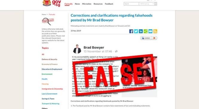 Phần hình ảnh đính kèm trong tuyên bố mà chính phủ Singapore đưa ra về thông tin sai sự thực trong bài viết của ông Bowyer (Ảnh: CNN)