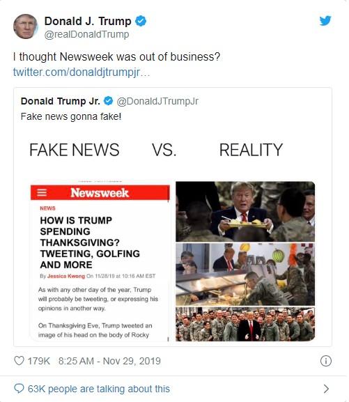 Tổng thống Trump phản ứng trước thông tin sai (Ảnh: Twitter)