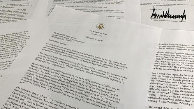 Bức thư mà ông Trump gửi cho Chủ tịch Hạ viện Nancy Pelosi (Ảnh: CNN)