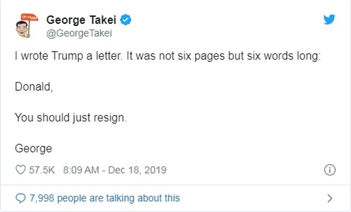 Cựu diễn viên, nhà hoạt động Takei cũng hối thúc ông Trump từ chức (Ảnh: Twitter)