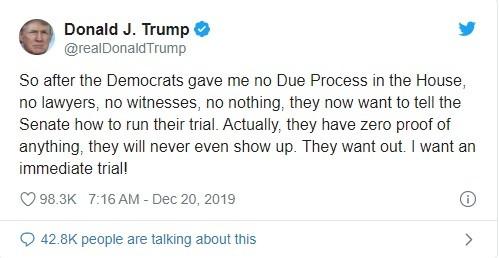 Đoạn tweet mà ông Trump đăng tải chỉ trích phe Dân chủ (Ảnh: Twitter)