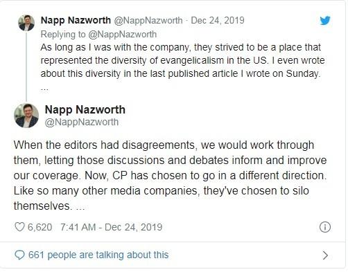 Ông Nazworth giải thích về nguyên nhân nghỉ việc trên Twitter (Ảnh: Twitter)