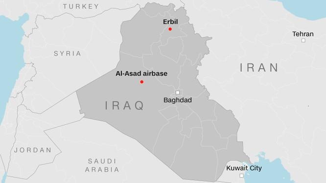 2 căn cứ quân sự tại Iraq bị Iran tấn công trong hôm 8/1 (Ảnh: CNN)