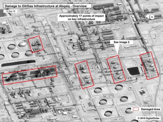 Hình ảnh chính phủ Mỹ công bố cho thấy thiệt hại tại cơ sở lọc dầu Abaqaiq của Aramco ở Buqyaq, Arab Saudi (Ảnh: CNBC)
