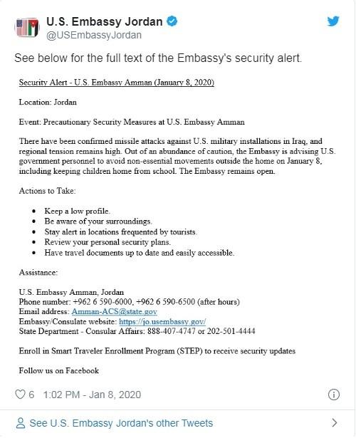 Thông báo mà Đại sứ quán Mỹ tại Jordan đăng tải trên Twitter (Ảnh: Twitter)