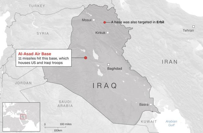 Vị trí căn cứ quân sự al-Asad ở Iraq (Ảnh: CNN)