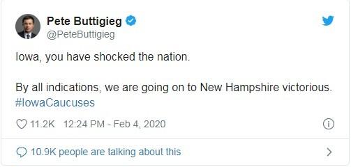 Ông Buttigieg tự nhận chiến thắng ở Iowa (Ảnh: Twitter)