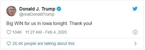 Bình luận của ông Trump trên Twitter: