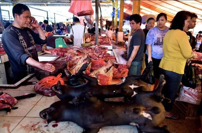 Một quầy bán thịt chó ở chợ Tomohon (Ảnh: The Sun)