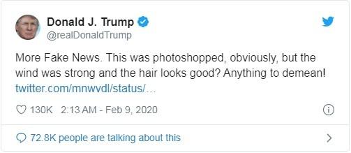 Ông Trump tố bức ảnh về ông bị chỉnh sửa trong một đoạn tweet (Ảnh: Twitter)