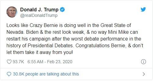 Bình luận của ông Trump trên Twitter (Ảnh: Twitter)