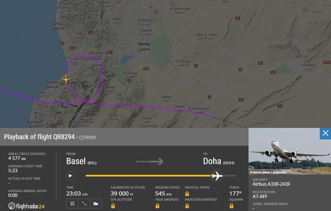 Chuyến bay số hiệu QR419 đã phải lượn 1 vòng quanh Tripoli, Libya (Ảnh: Flightradar24)