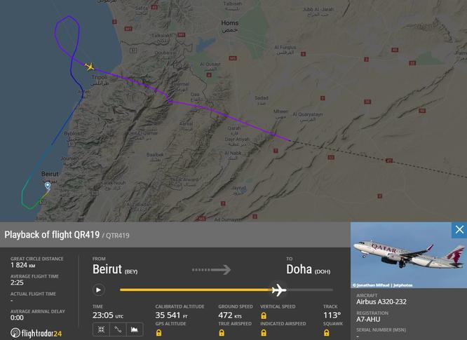 Chuyến bay số hiệu QR419 chịu số phận tương tự (Ảnh: Flightradar24)