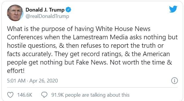Đoạn tweet mà ông Trump đăng tải (Ảnh: Twitter)