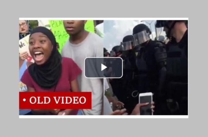 Đoạn clip này thực chất được quay trong cuộc biểu tình ở Baton Rouge năm 2016 (Ảnh: BBC)