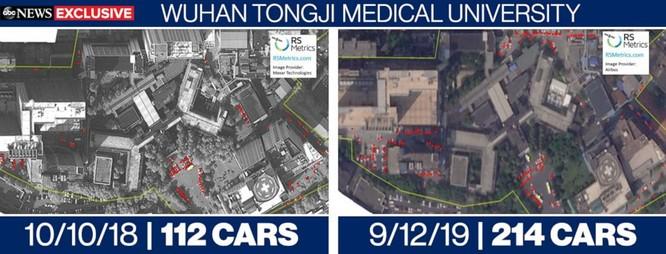 Hình ảnh vệ tinh cho thấy lưu lượng xe ở bệnh viện Tongji, Vũ Hán ngày 10/10/2018 và ngày 12/9/2019 (Ảnh: ABC News)